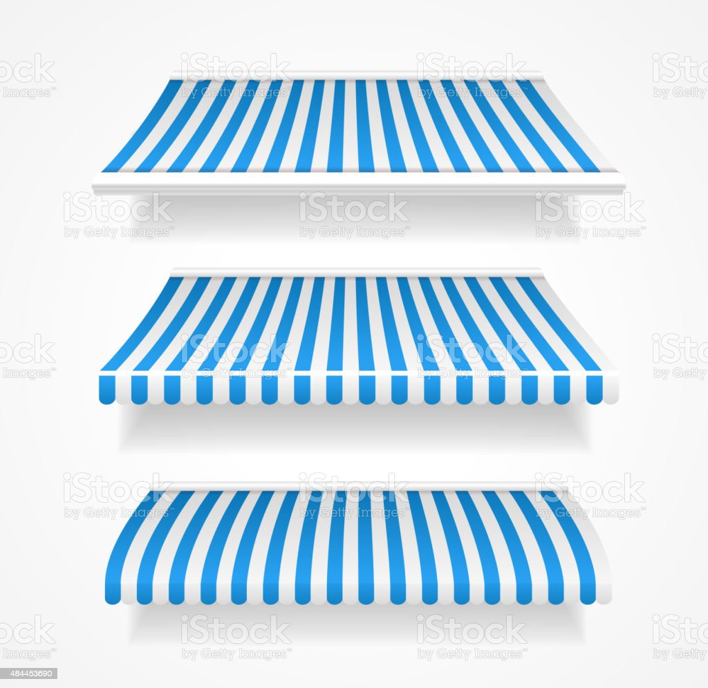 Vector colorful awnings for shop set blue vector art illustration