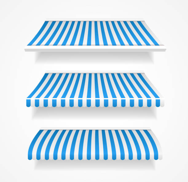 vektor bunte markisen für shop-set-blau - dachzelt stock-grafiken, -clipart, -cartoons und -symbole