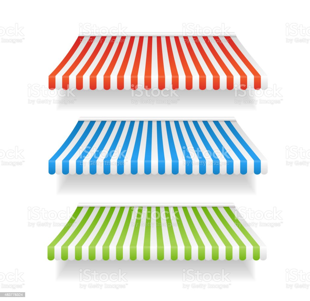 Vector colorful awnings for shop set vector art illustration