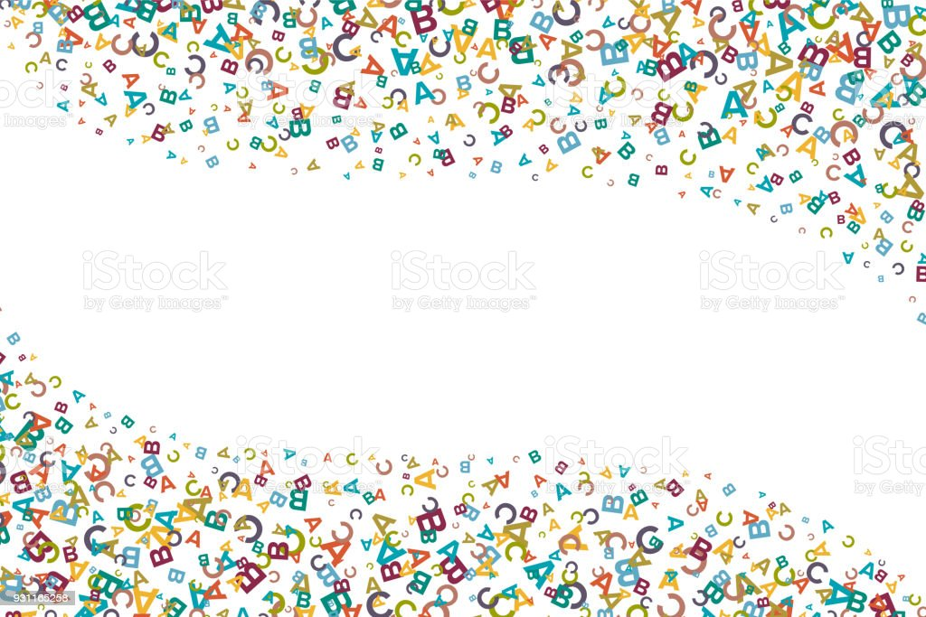 Vector Colorful Background Made From Alphabet Symbols Letters Or