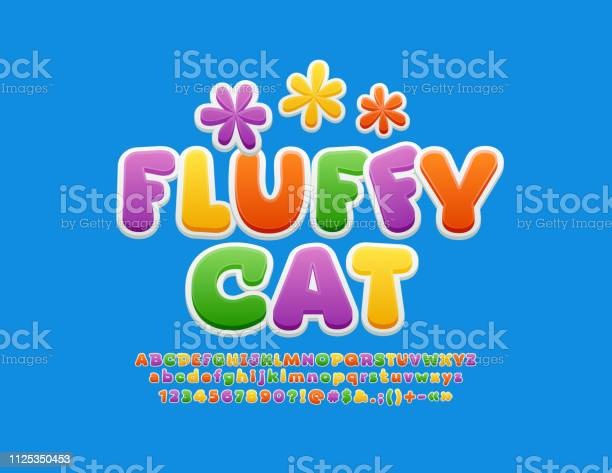 Vector colorful banner fluffy cat with cute flowers bright sticker vector id1125350453?b=1&k=6&m=1125350453&s=612x612&h= kjdfj9jdkgl0joahncrzhre8d71pdieukvptieb7oa=