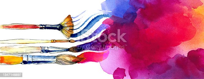 istock Vector colorful banner made of bright watercolor and brushes 1347146697