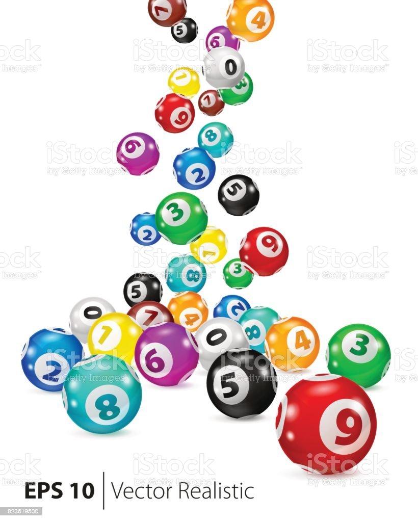 Bolas de Bingo colorido de vetor cair aleatoriamente - ilustração de arte em vetor
