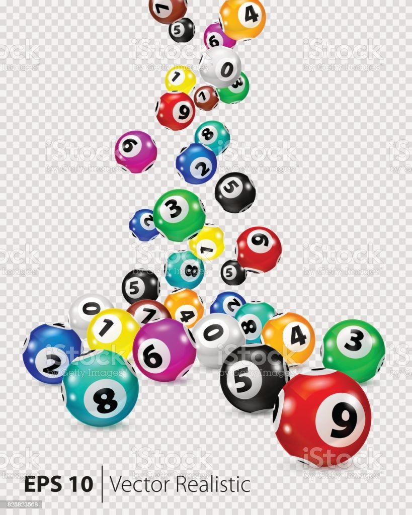Vector Colorful Bingo balls fall randomly vector art illustration
