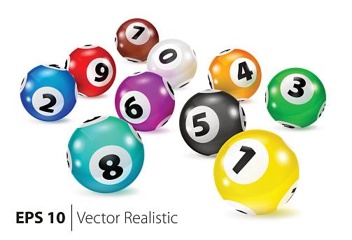 Vector Colorful Bingo balls lie in random order