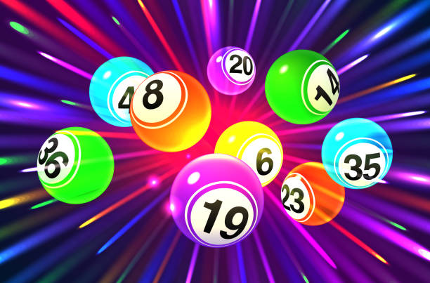Vector colorful bingo balls on an exploding dark purple background Vector colorful bingo balls on an exploding dark purple background bingo stock illustrations