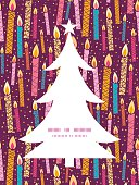 Vector colorful birthday candles Christmas tree silhouette pattern frame card template graphic design