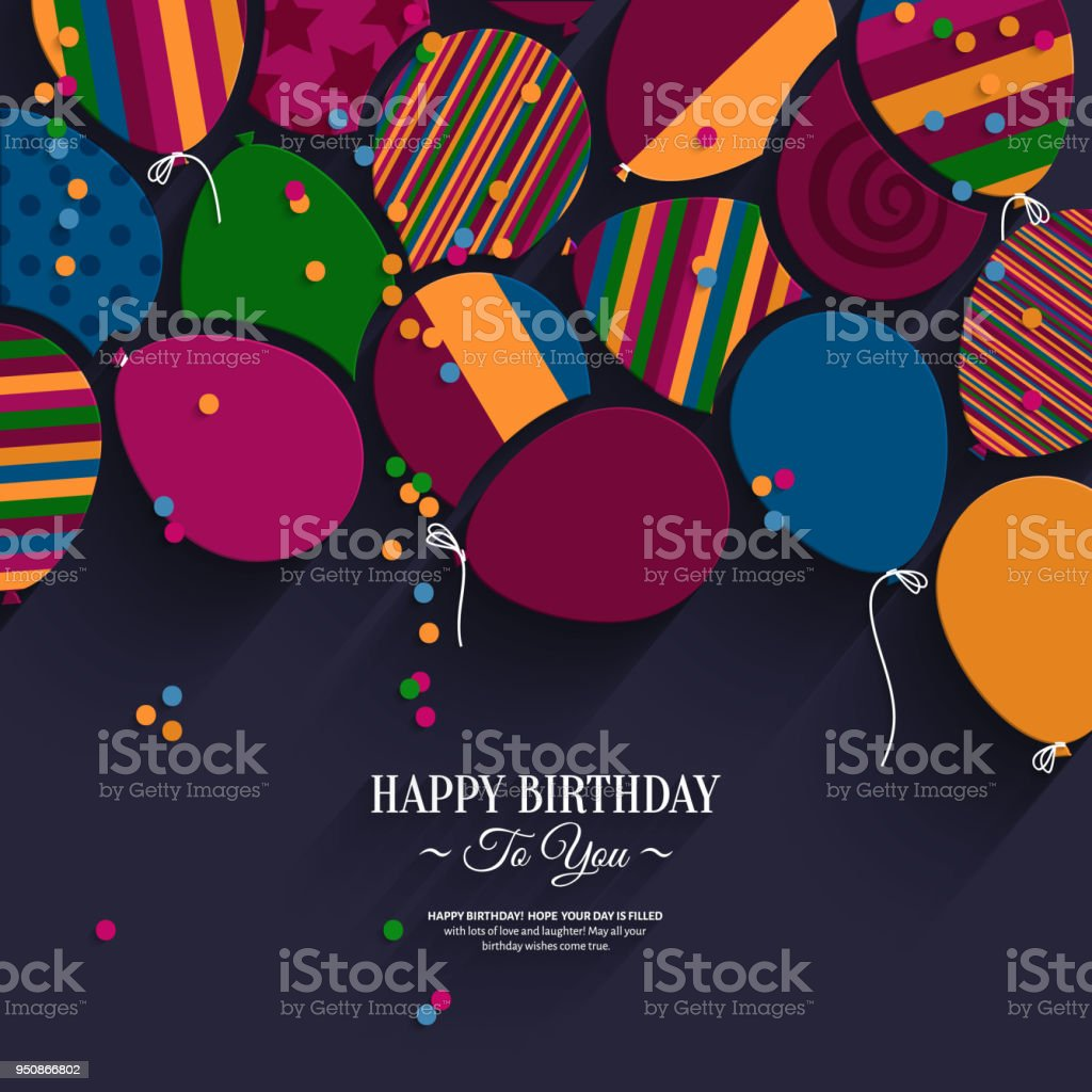 Colorful birthday card with paper balloons and wishes.