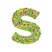 Vector colorful botanical garden fresh leaves font, letter S