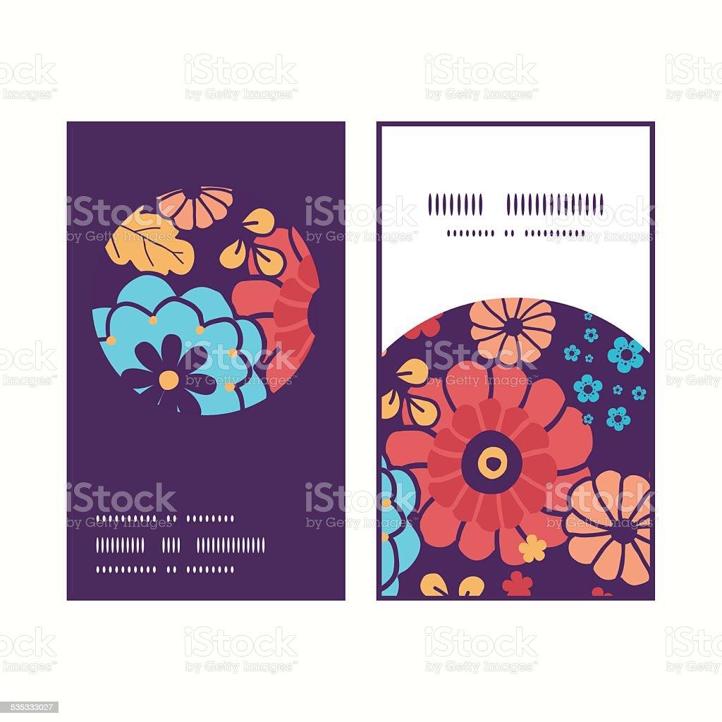 Vecteur Bouquet De Fleurs Colores Monture Ronde Verticales Motif Cartes Visite