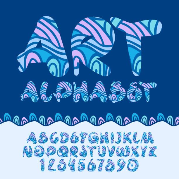 ilustraciones, imágenes clip art, dibujos animados e iconos de stock de vector patrón de niños colores de arte alphabet - tipos de letra de historietas