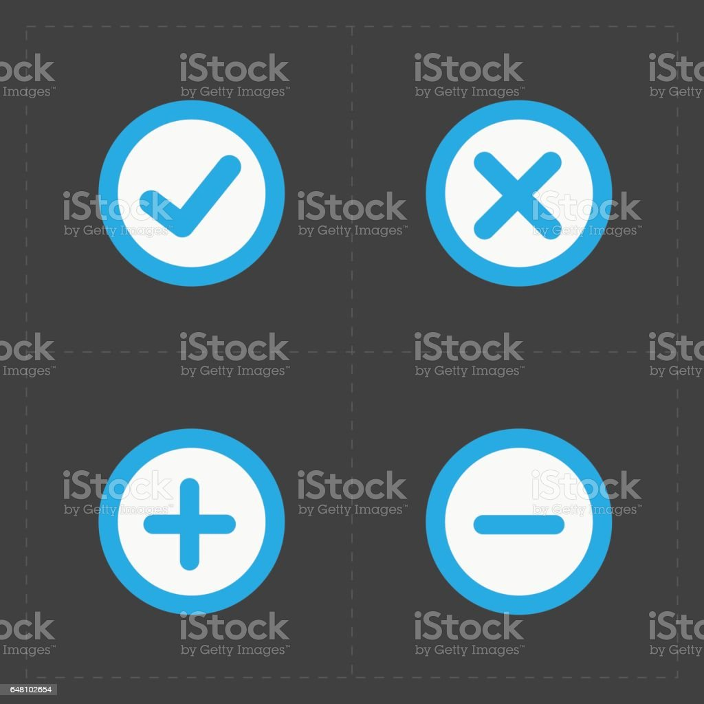 Vector colorful confirm icons set vector art illustration