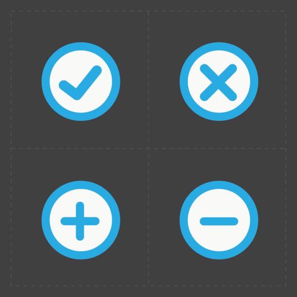 illustrazioni stock, clip art, cartoni animati e icone di tendenza di vettoriale icone set colorato conferma - segno meno