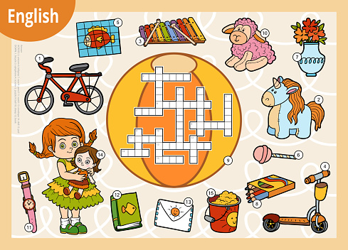 Vector colorful crossword in English, education game for children. Cartoon set of toys and objects for girl