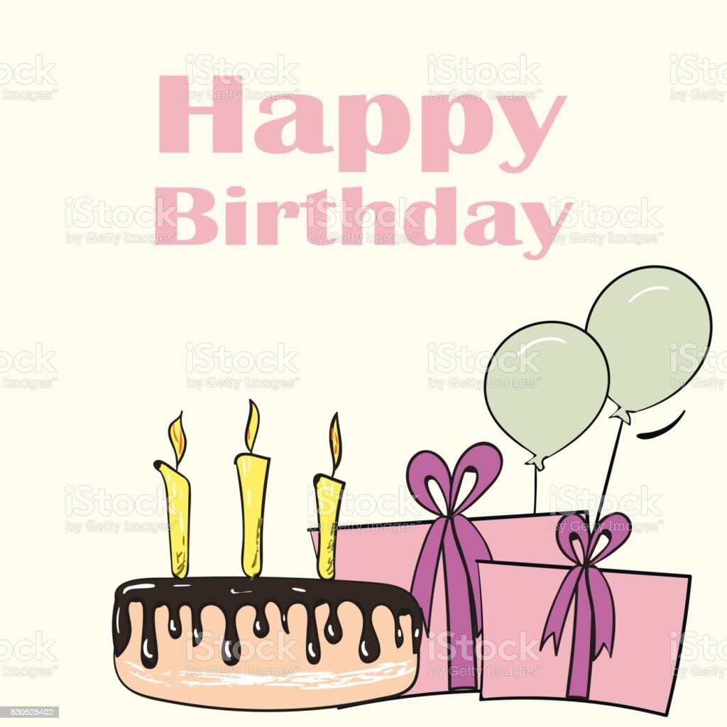 Vector Colorful Cute Happy Birthday Card With Presents And Flowers