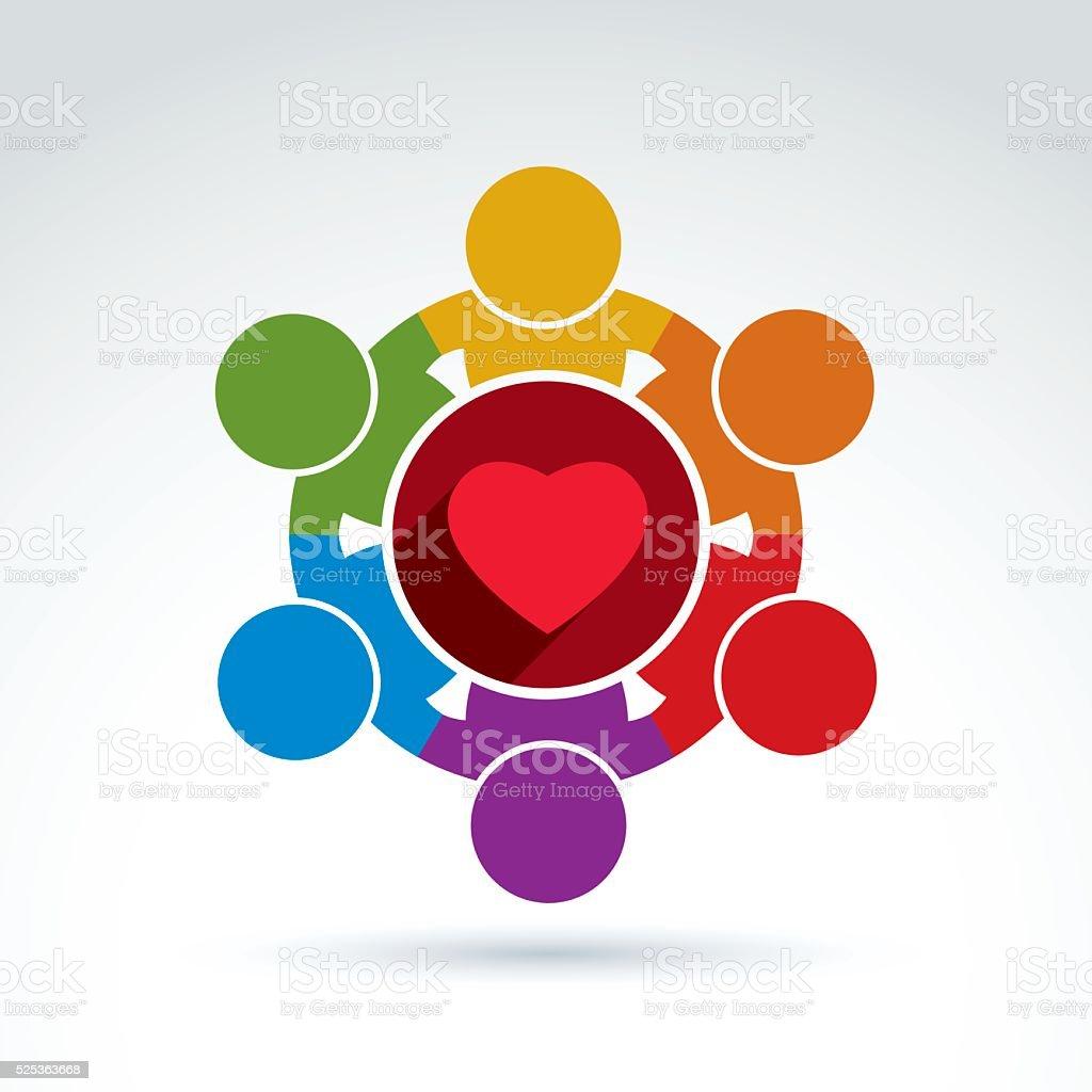 Vector colorful donation symbol, charity association vector art illustration
