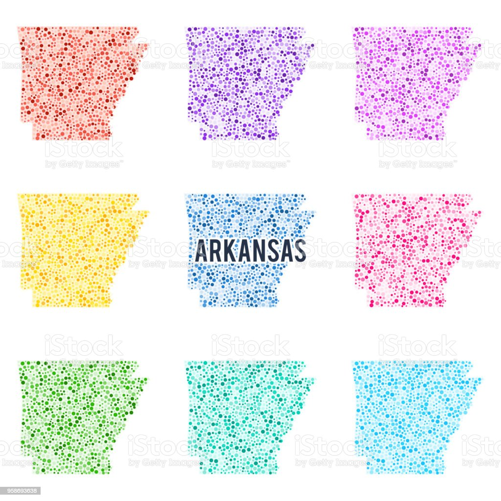 Vector colorful dotted map of the state of Arkansas. vector art illustration