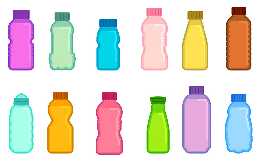 Vector colorful drink bottle collection