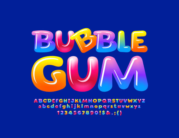 Vector colorful emblem Bubble Gum with Glossy Font. Sweet shiny Alphabet vector art illustration