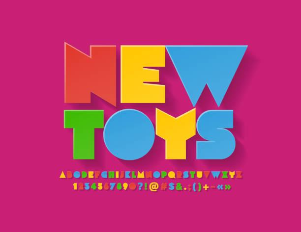 Vector Colorful emblem New Toys. Unique Bright Alphabet for Children Activity, Marketing, Advertising Flat playful Font alphabet patterns stock illustrations