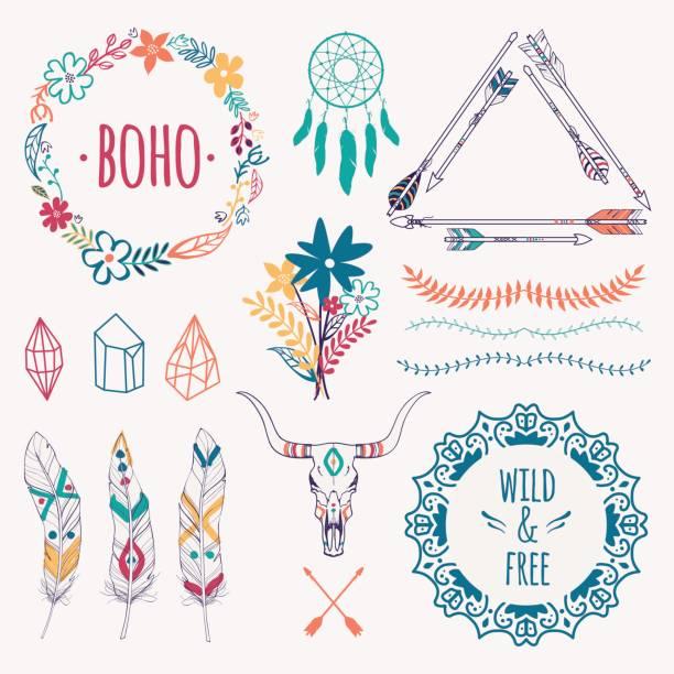 vektor-bunten ethnischen set mit pfeilen, federn, kristalle, florale bilder, grenzen, traumfänger, stier schädel. modernen romantischen boho-stil. vorlagen für einladungen, scrapbooking. hippie-design-elemente. - boho stock-grafiken, -clipart, -cartoons und -symbole