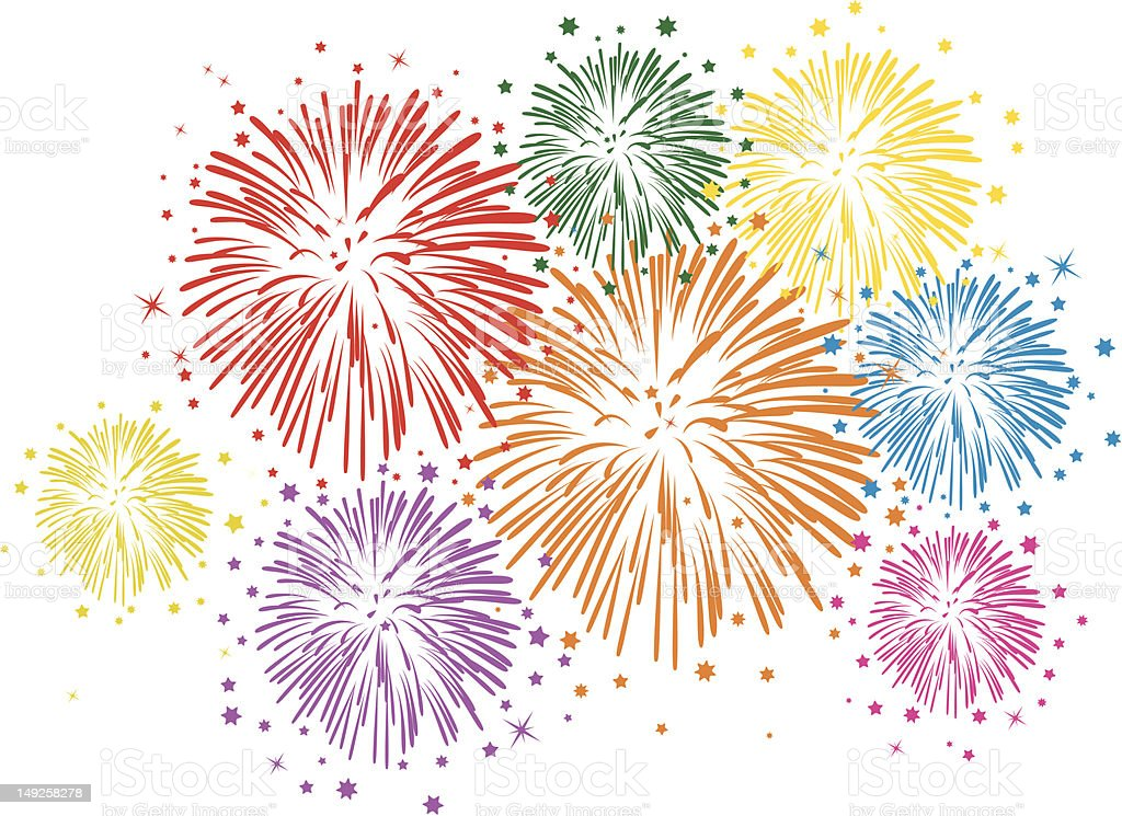vector colorful fireworks on white background vector art illustration