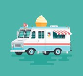 Vector colorful flat ice cream truck. Cartoon illustration.