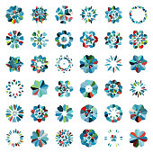 Vector colorful floral buttons pattern icon collection