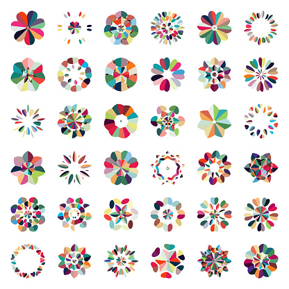 Vector colorful floral pattern buttons icon collection