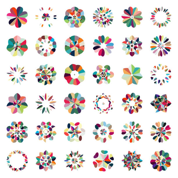 Vector colorful floral pattern buttons icon collection Vector colorful floral pattern buttons icon collection flower head stock illustrations