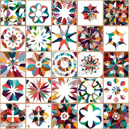 Vector colorful floral pattern tile collection