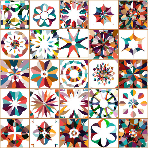vector colorful floral pattern tile collection - wyrób ceramiczny stock illustrations