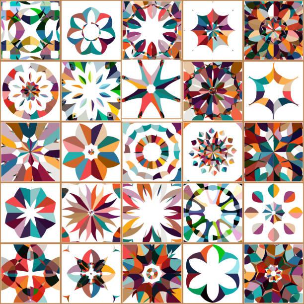 ilustrações de stock, clip art, desenhos animados e ícones de vector colorful floral pattern tile collection - mosaicos flores