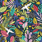 Vector colorful floral seamless pattern with exotic leaves and birds