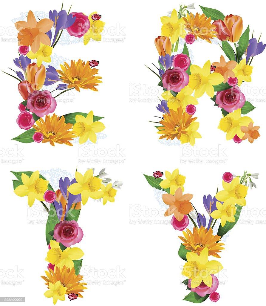 ベクトルカラフルな花飾り アルファベットのベクターアート素材や画像