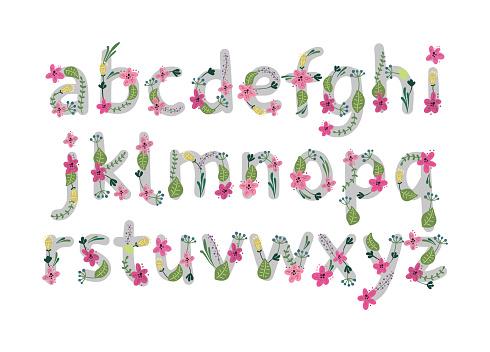 Vector colorful flower font. Vector illustration