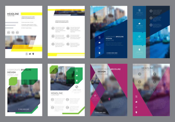 vector colorful flyers design template - annual reports templates stock illustrations