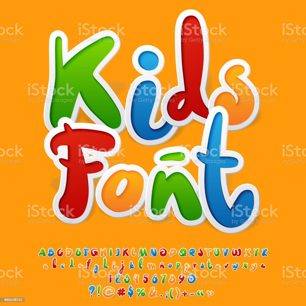 Vector colorful funny unusual Kids Font vector art illustration