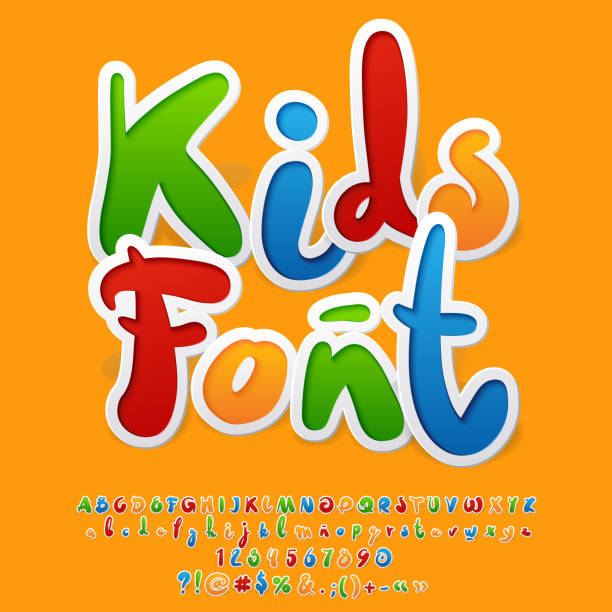 vector colorful funny unusual kids font - przedszkole stock illustrations