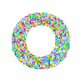 Vector colorful gem stones font, letter O