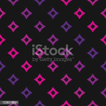 Vector colorful geometric seamless pattern with star shapes, diamonds, rhombuses. Creative abstract background in trendy bright neon colors, pink and purple on black backdrop. Retro 80-90's design
