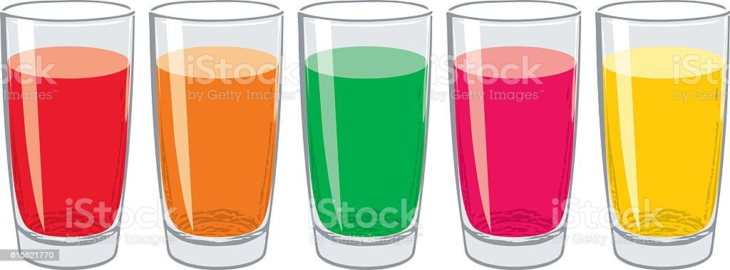 vector colorful glasses with tasty fresh juice vector art illustration