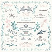 Vector Colorful Hand Drawn Floral Design Elements, Crowns
