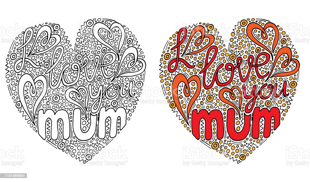 Vecteur De Forme Coeur Coloré Avec I Love You Maman Texte