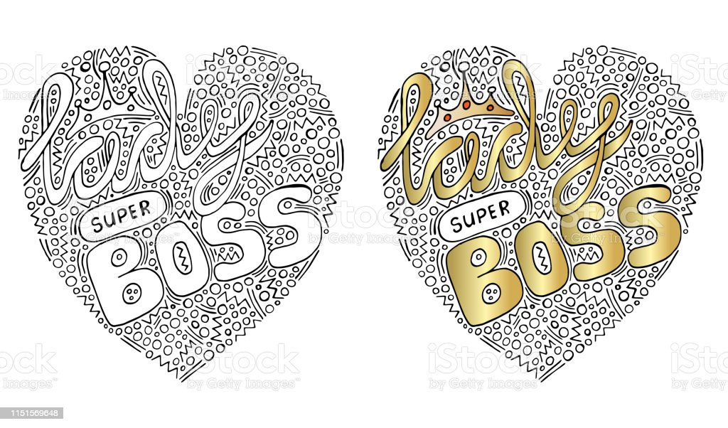 vector colorful heart form with lady super boss text for coloring vector id