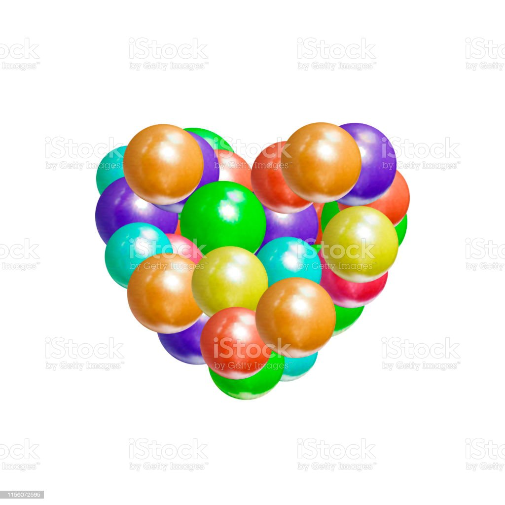Vector Colorful Heart Icon, Realistic Malticolored Balls Texture,...