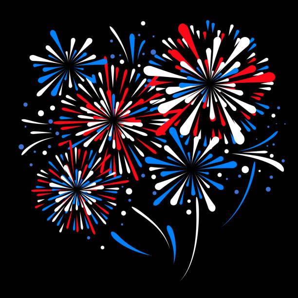 벡터 다채로운 휴일 불꽃 놀다. 미국 독립기념일 - fireworks stock illustrations
