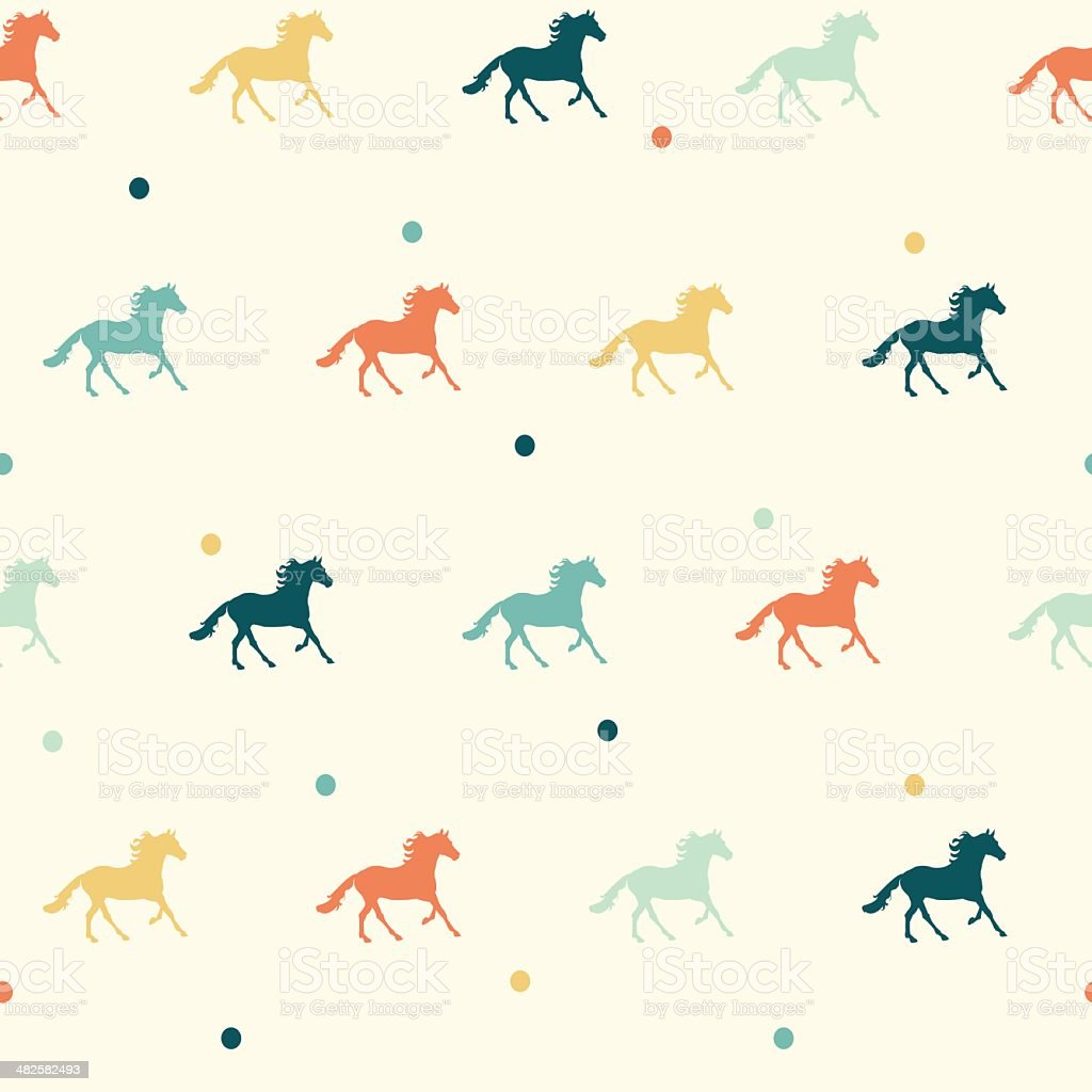 Vector colorful horse seamless pattern. vector art illustration