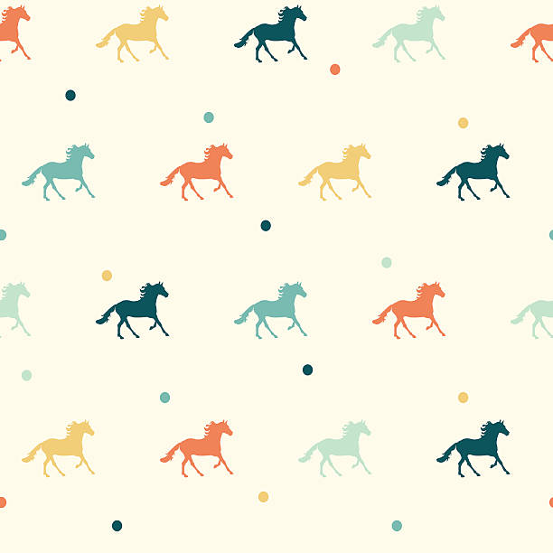 vector colorful horse seamless pattern. - horse racing stock illustrations