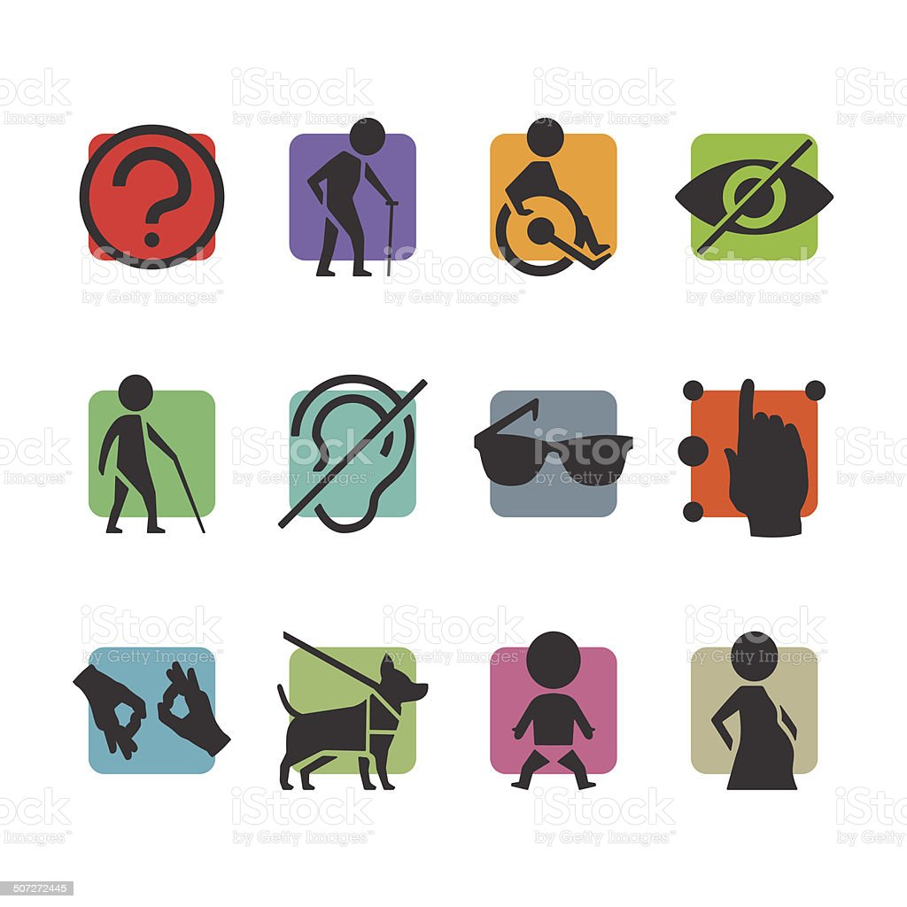 Vector colorful icon set of access signs vector art illustration